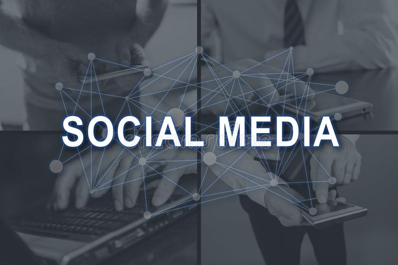 Concept of social media. Social media concept illustrated by pictures on background royalty free stock photo