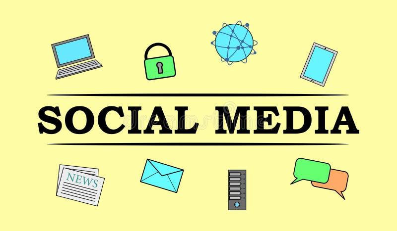 Concept of social media. Illustration of a social media concept stock illustration