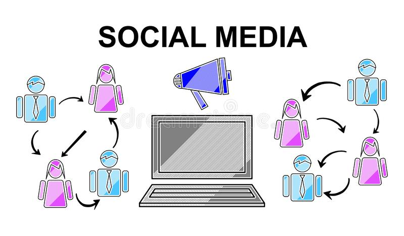 Concept of social media royalty free illustration