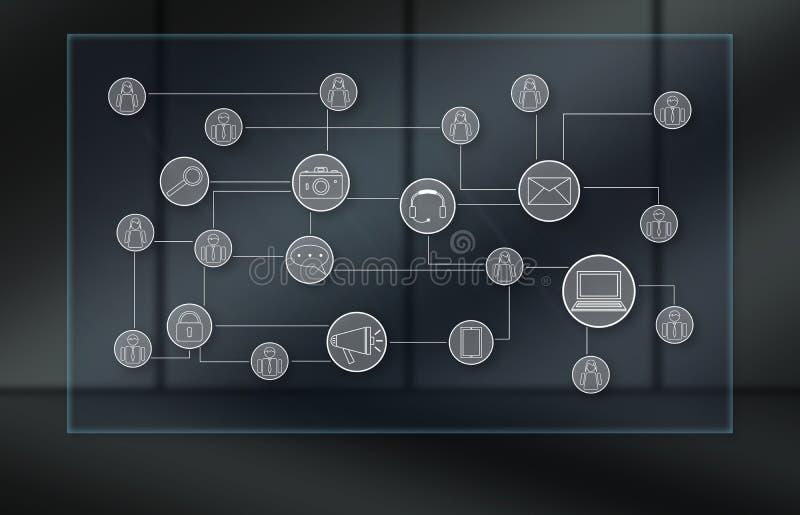 Concept of social media network. Social media network concept on dark background vector illustration