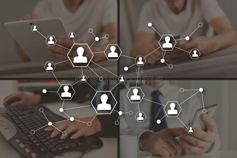 Concept of social media network. Social media network concept illustrated by pictures on background royalty free stock photos
