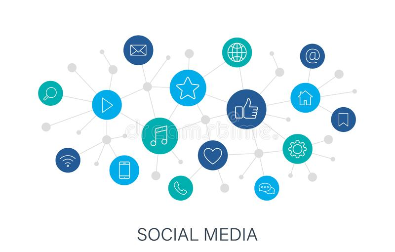 Concept Social Media web icons in line style. Contact, digital, social networks, technology, website. Digital network vector illustration