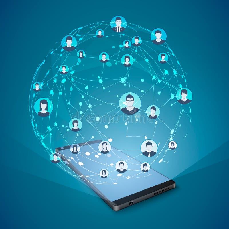 Concept social moderne de media Internet mobile et mise en réseau sociale Illustration de vecteur illustration libre de droits