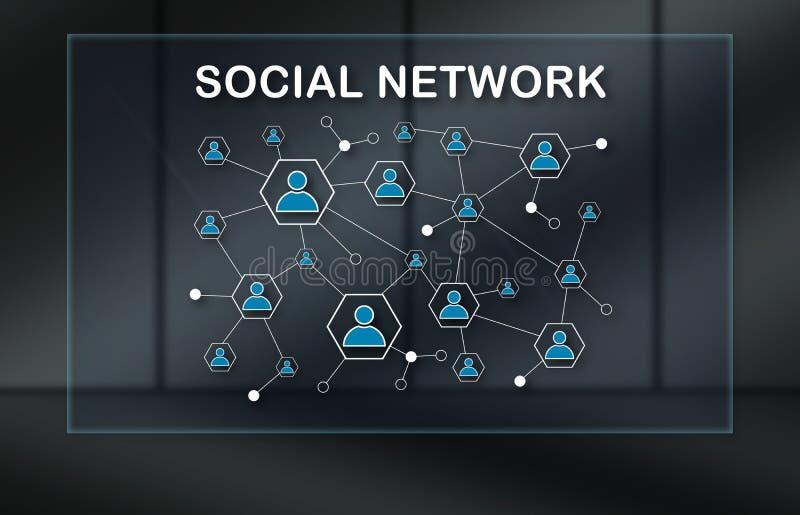 Concept of social network. Social network concept on dark background vector illustration