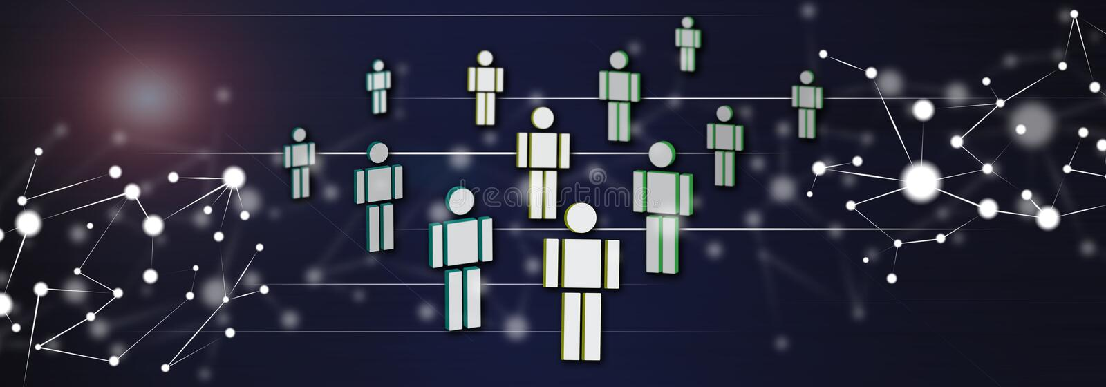 Concept of social network. Illustration of a social network concept stock illustration