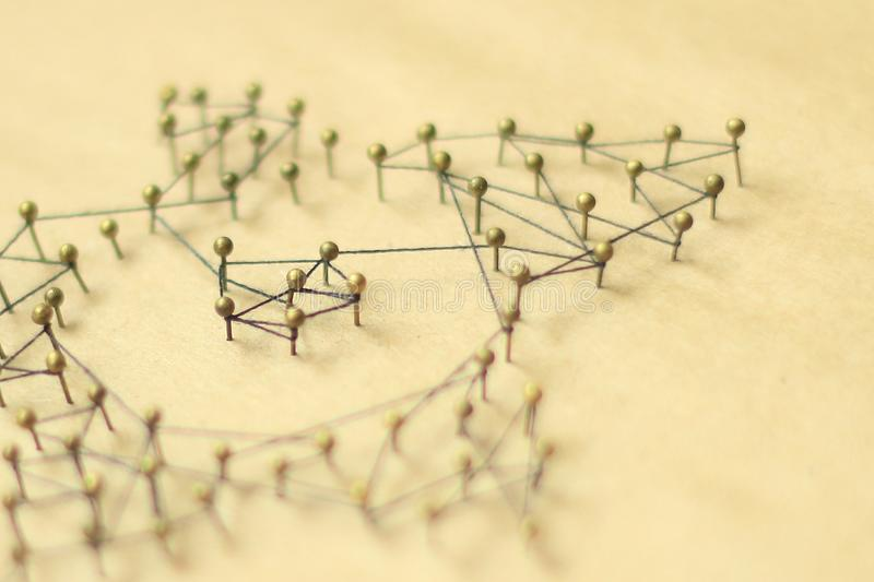 Concept of a social network with leader. Of a management structure with linkages and interaction royalty free stock photo