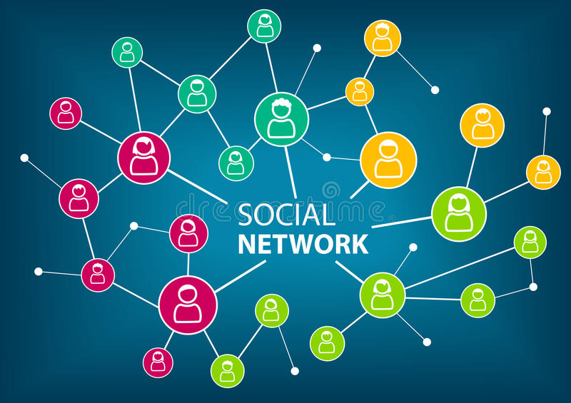 Concept of social network to connect friends, families and global workforce. vector illustration