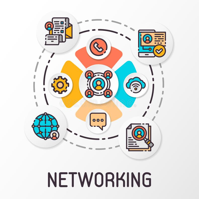The concept of a social network which contains communication icons. Vector illustration. The concept of a social network for the internet and infographics stock illustration