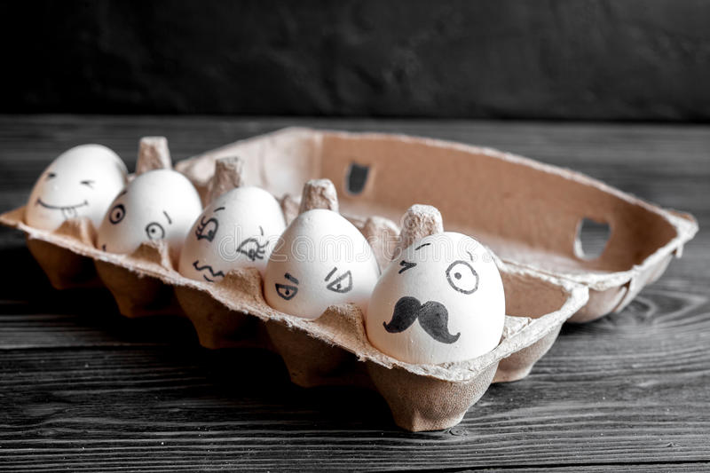 Concept social networks communication and emotions - eggs stock image