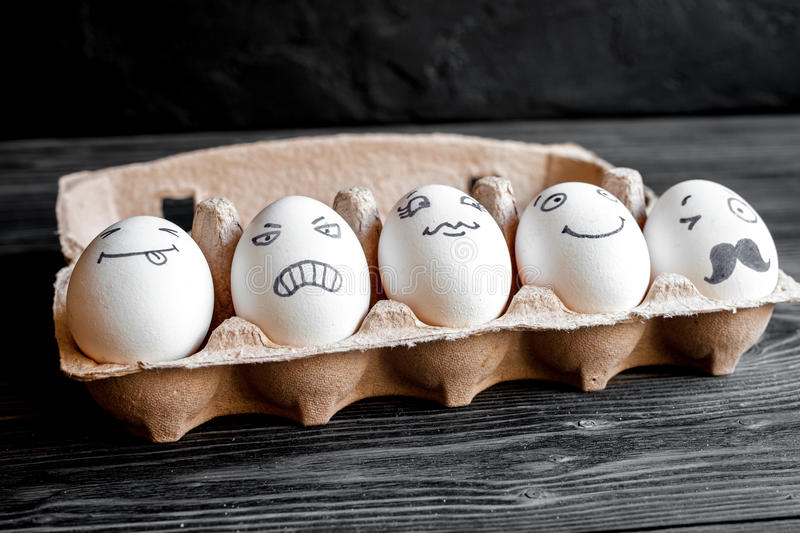 Concept social networks communication and emotions - eggs royalty free stock photography