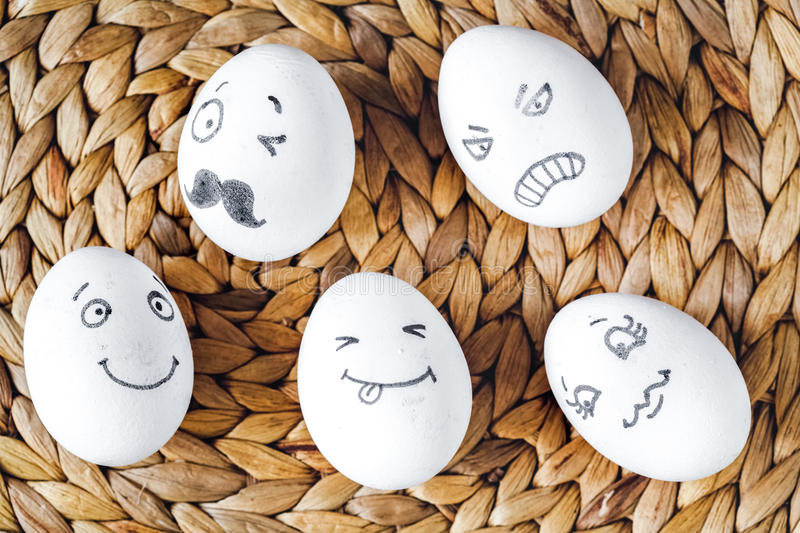 Concept social networks communication and emotions - eggs royalty free stock photos