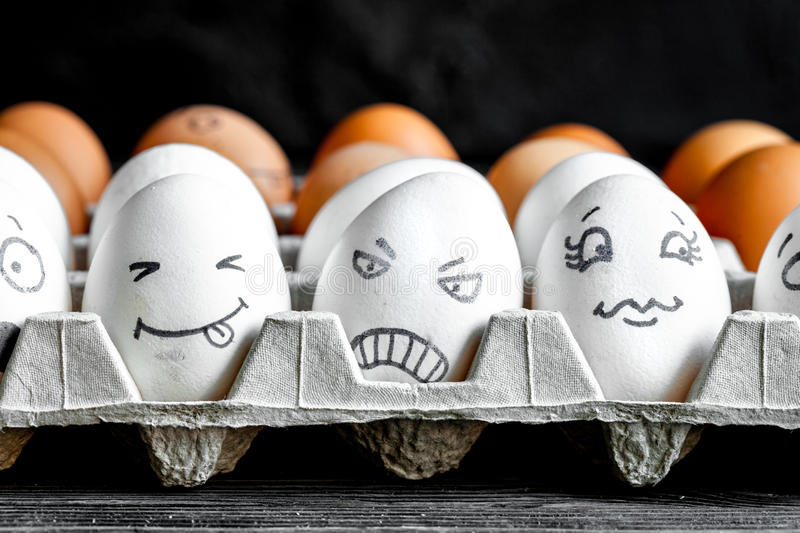 Concept social networks communication and emotions - eggs smile stock photo
