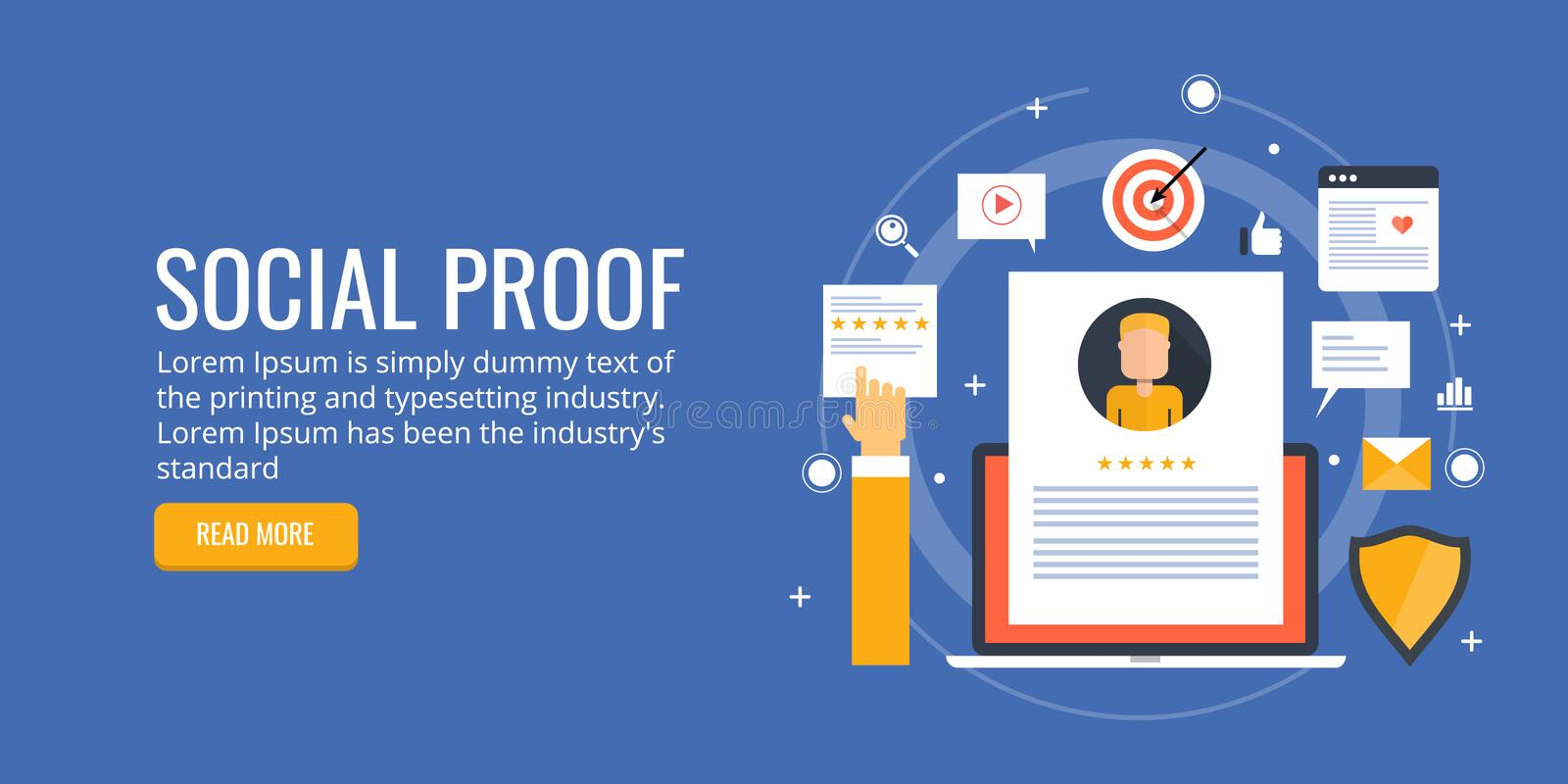 Social media marketing, product and service selling on social networks with testimonial and feed back. Concept of social proof, with network, media, target and royalty free illustration