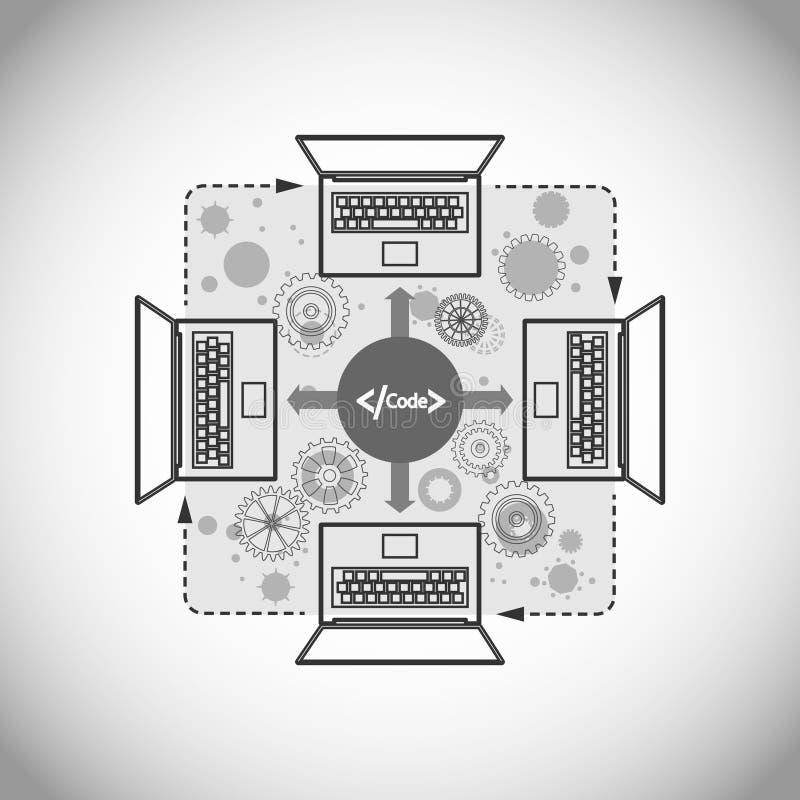 Concept software-ontwikkeling en code het delen stock illustratie