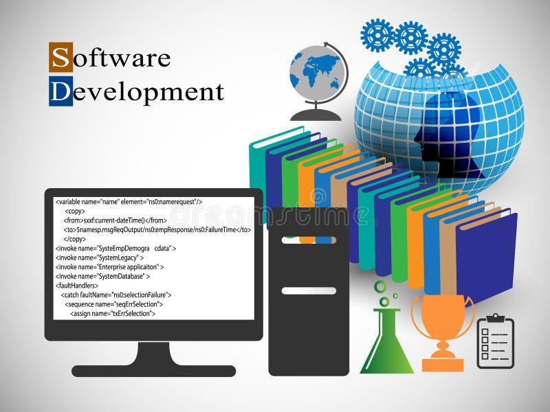 Concept Software-ontwikkeling en Kennis het delen stock illustratie