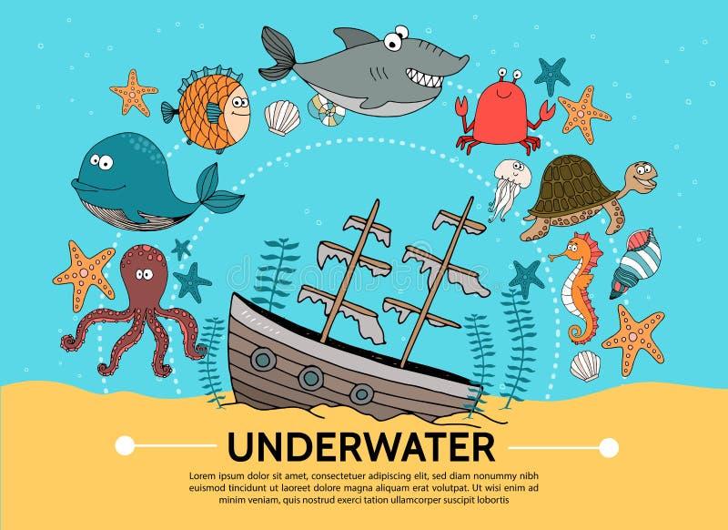 Concept sous-marin plat du monde illustration stock
