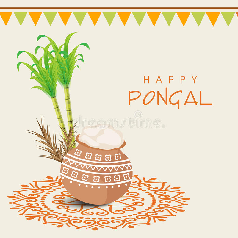 Concept of South Indian festival, Happy Pongal celebrations. Beautiful traditional mud pot with rice, sugarcane, wheat grain and bunting decoration for South vector illustration