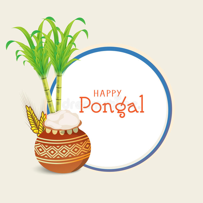 Concept of South Indian festival, Happy Pongal celebrations. Happy Pongal, South Indian harvesting festival celebrations with beautiful mud pot, wheat grain and royalty free illustration