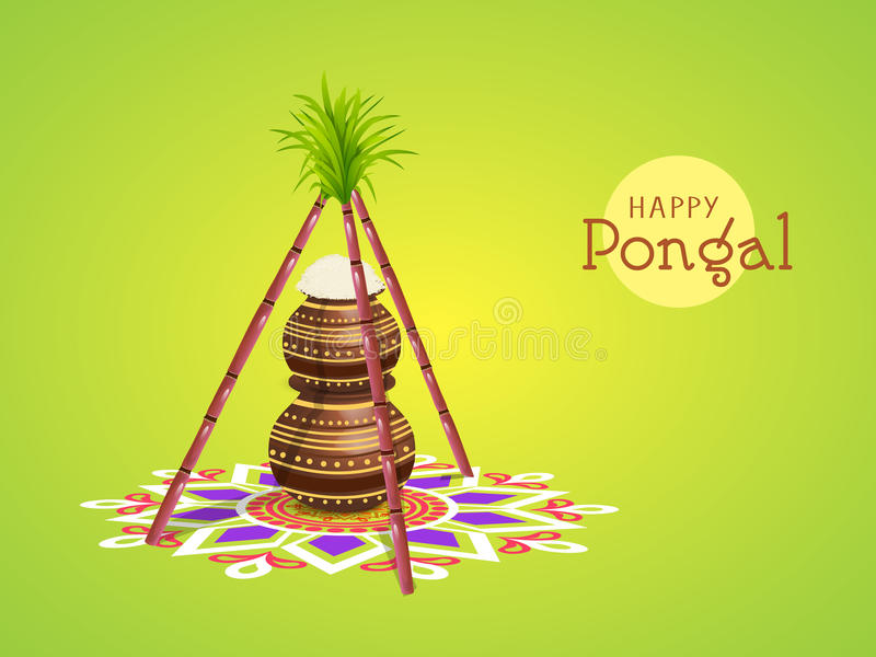 Concept of South Indian festival, Happy Pongal celebrations. South Indian harvesting festival Happy Pongal celebrations with rice in traditional mud pots and royalty free illustration