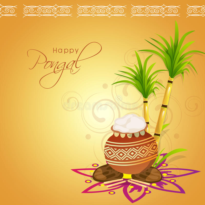 Concept of South Indian festival, Happy Pongal celebrations. South Indian harvesting festival Happy Pongal celebrations with traditional mud pot and sugarcane vector illustration
