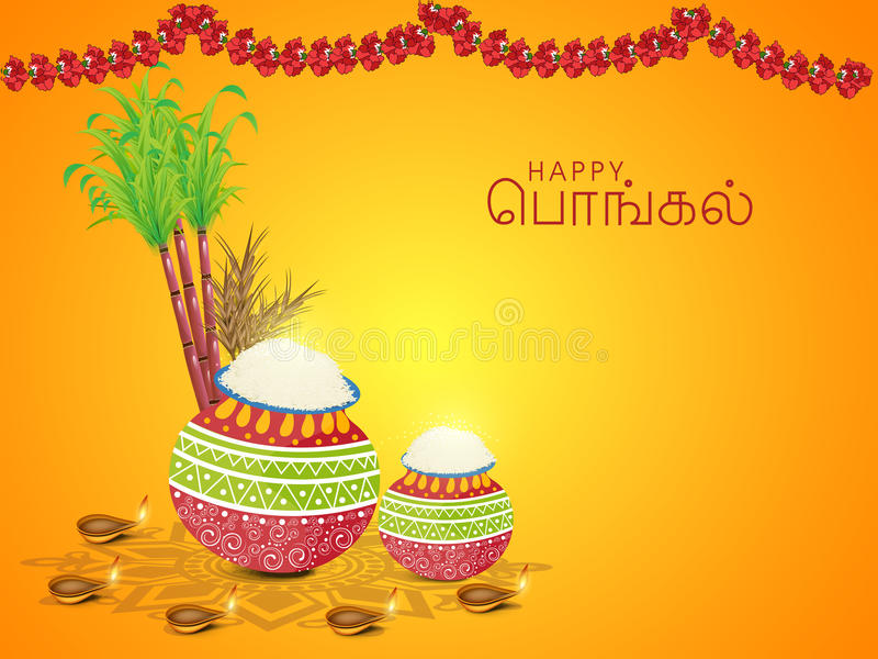 Concept of South Indian festival, Happy Pongal celebrations. South Indian harvesting festival concept with wishes in Tamil text (Happy Pongal), decorated vector illustration