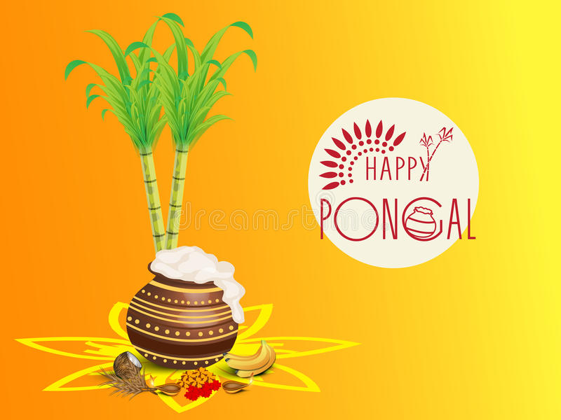 Concept of South Indian festival, Happy Pongal celebrations. Traditional mud pot with rice, religious offering, lit lamps and sugarcane on colorful background stock illustration