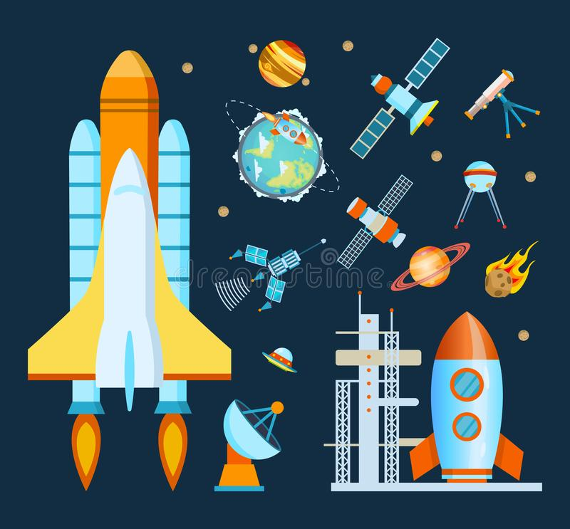 Concept space. Rocket, spacecraft, satellite launch, flight around the Earth. vector illustration