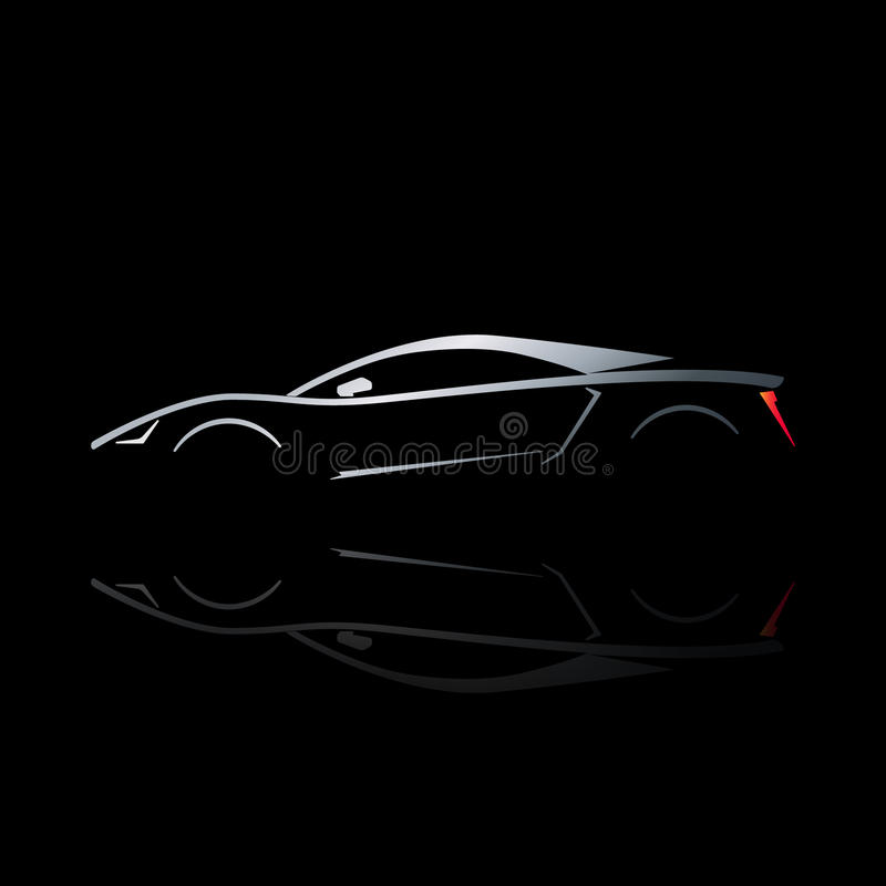 Concept Sport Car Silhouette With Reflection Stock Vector
