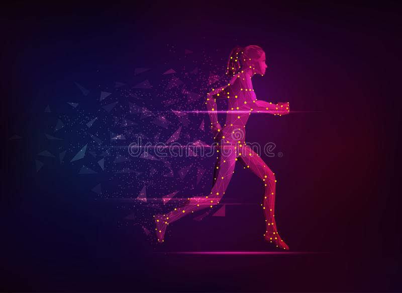 Running Girl. Concept of sport science, polygon female athlete running with lighting effect stock illustration