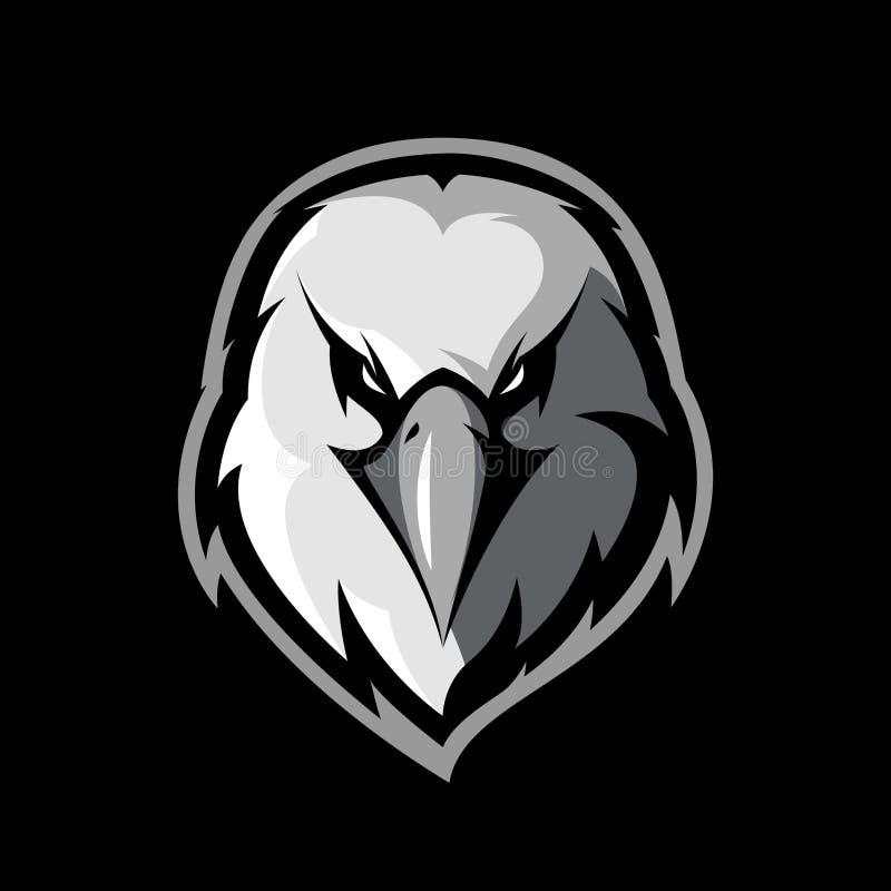 Concept sportif de logo de vecteur de club de tête furieuse d'aigle d'isolement sur le fond noir illustration stock