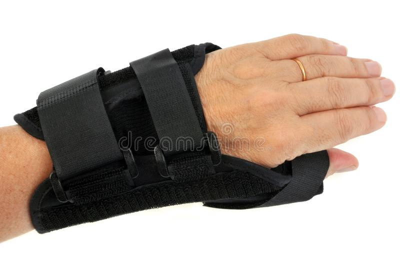 Wrist with an orthosis in close-up on a white background. Concept of sprain or tendonitis with an instrument to heal it stock image