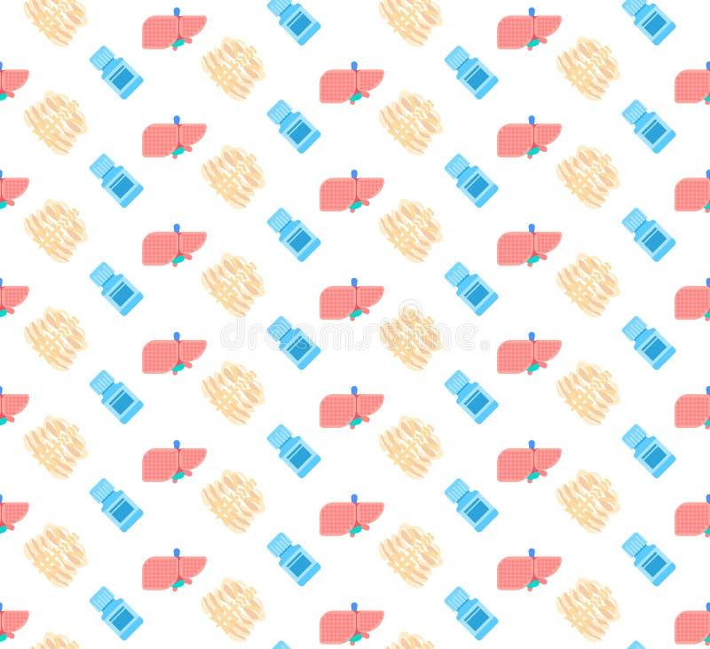 Concept squelettique de symbole de médecine de logo de service médical de soins de santé d'icône de cage thoracique de foie de tu illustration libre de droits