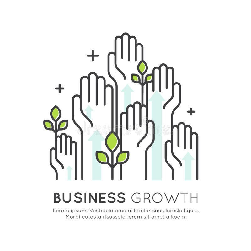 Concept of Start Up Business Growth, Development and Increasing royalty free illustration