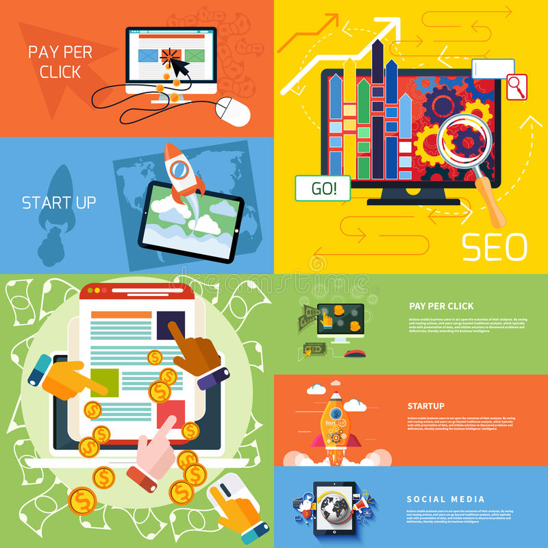 Concept of start up, pay per click, seo royalty free illustration
