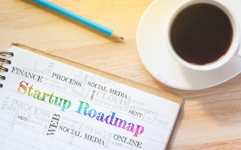 Concept Startup Roadmap message on book. A pencil and a glass coffee table.Vintage tone stock image