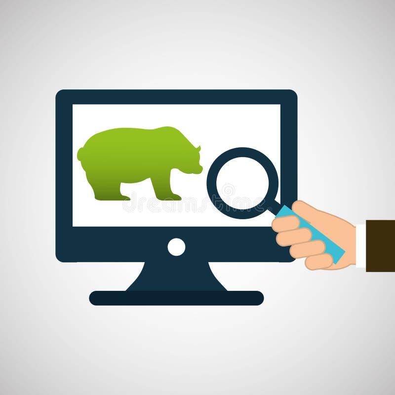 Concept stock exchange bear icon design royalty free illustration