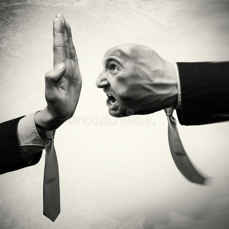 Concept of stop aggression. Image stock photo
