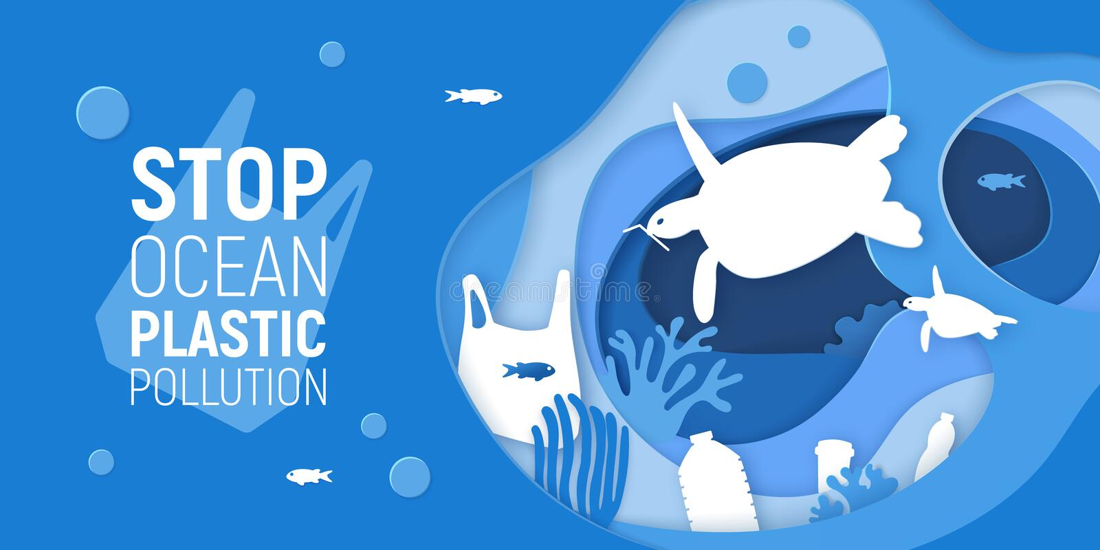 Concept of Stop Ocean Plastic Pollution. Paper cut underwater background with plastic rubbish, turtles and coral reefs stock illustration
