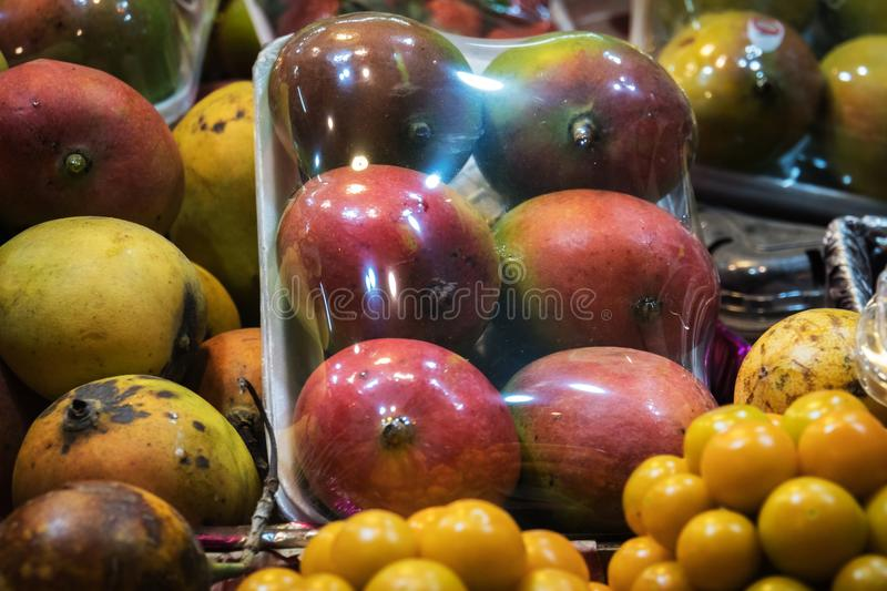 Concept street trade exotic fruits. stock image