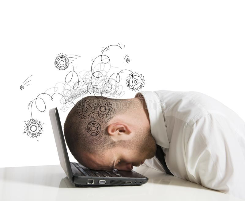 Stress concept. Concept of stress with businessman sleeping on a laptop