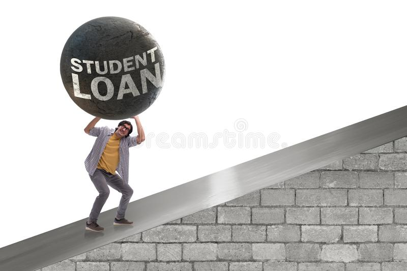 The concept of student loan and expensive education stock image