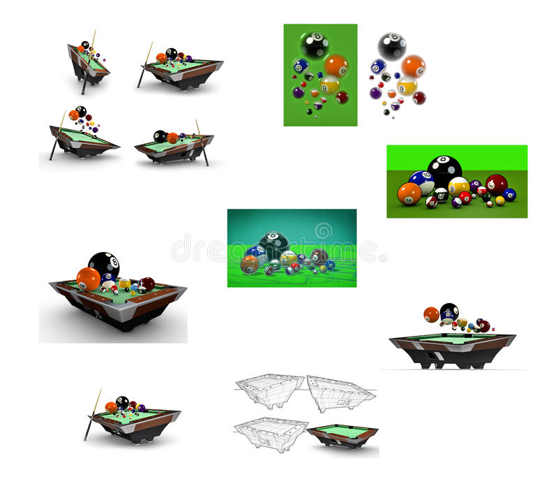 Concept studies on billiards pool table vector illustration