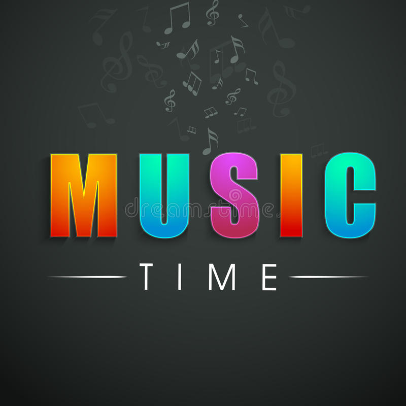 Concept of stylish text of Music Time. stock illustration