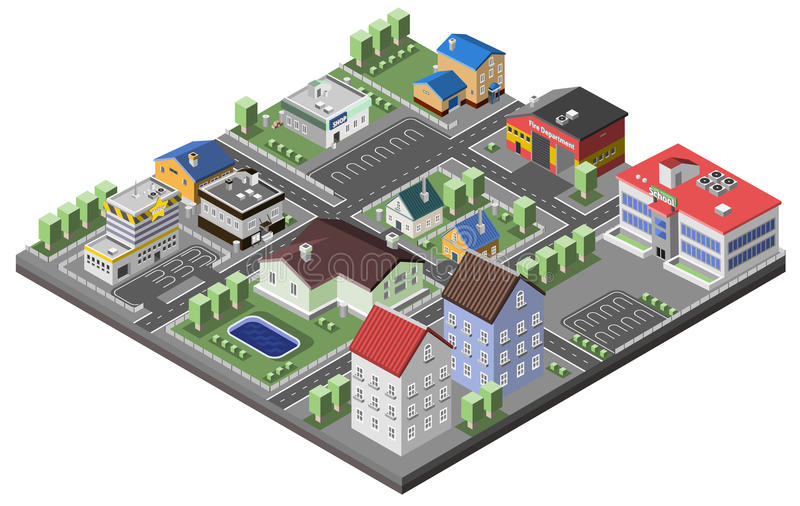 Concept suburbain isométrique illustration stock