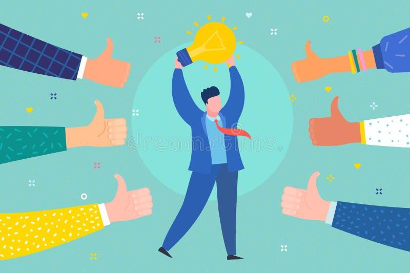 Concept succes en idee Vrolijke bedrijfsmens met symbool van idee royalty-vrije illustratie