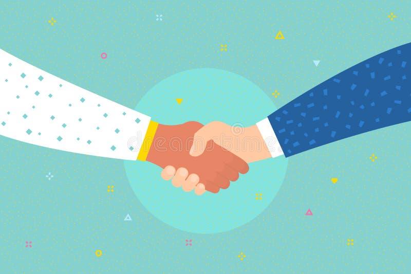 Concept succesovereenkomst, gelukkig vennootschap, begroetende schok, toevallige handenschuddenovereenkomst Schuddende handen royalty-vrije illustratie