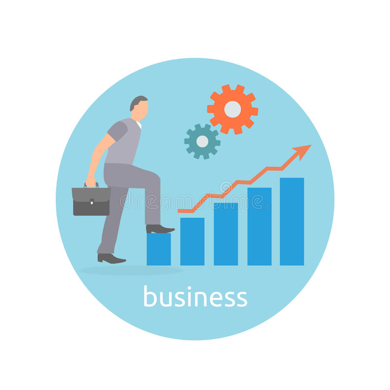 Concept of success and determination in business. Businessman step up to top of success arrow in flat design style vector illustration