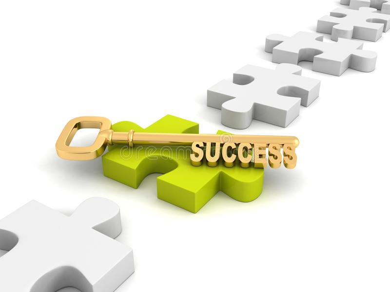 Concept success golden key on green jigsaw puzzle. 3d stock illustration