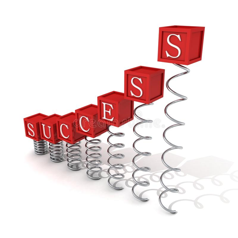 Concept Success Red Bar Ladder Blocks On Spring Spirals Stock Photography