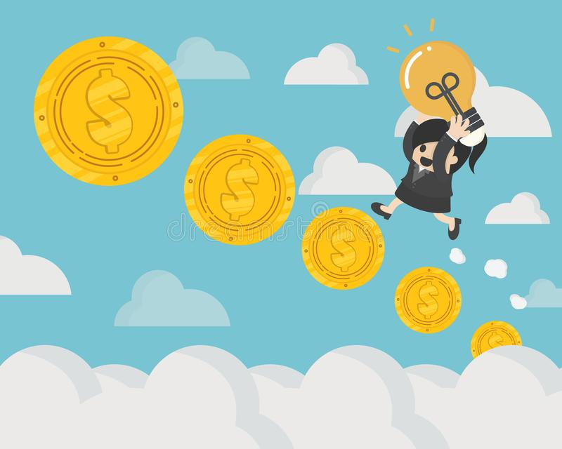 Concept Success requires money and ideas, business Woman Holds L. Ight Bulb go up the stairs coin royalty free illustration